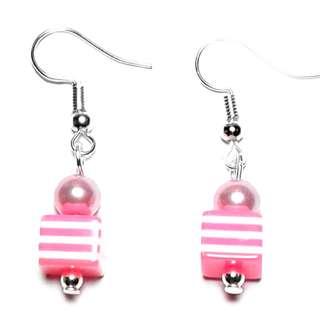Handmade Korean Style Pink White Line Cube Resin Bead Dropping Earring