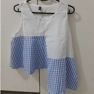 High Low Pinstripes Gingham TOP