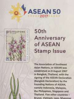 Limited Edition brand new 50th Anniversary Of ASEAN First Day Cover With Vanda Miss Joaquim Commemorative Stamp For $1.95.