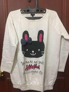 White Bunny Sweatshirt Korean-Style