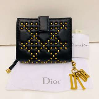 New Dior black lamb leather with gold studs wallet