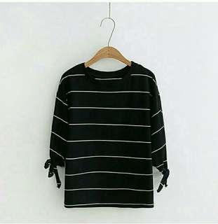 Fresia Blouse. Stripe Salur Garis Atasan Baju Kaos Wanita ABG. Sablon Printing Murah