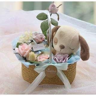 婴兒花藍禮盒狗年男女寶寶禮物篮送懷孕剛出生新生兒纯棉衣服套装(0-3 3-6)