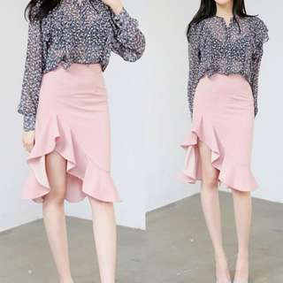 Pink Skirt uneven ruffles fishtail bodycon sexy pretty #ramadan50