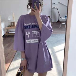 Ulzzang Printed Loose / oversized mid length sleeve Tshirt dress