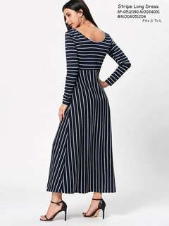 STRIPE LONG DRESS  💋Stripe Long Dress 💫Cotton fabric, soft stretch 💫Stripe pattern 💫Free size fits up to L 💫Single color 💫Good quality  Price : 390