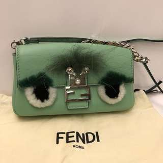 Fendi light green monster small charm crossbody bag