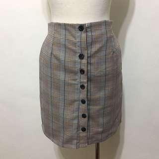 🚚 全新,韓系,顯瘦款前釦釦格紋A字短裙,窄裙,黃灰藍格
