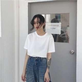 白色 上衣 素t