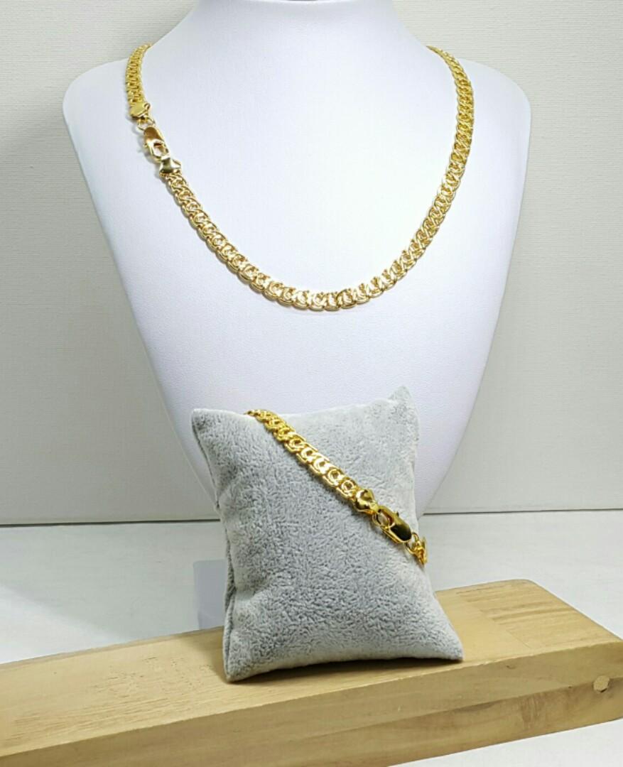 1 Set Yellow Gold Filled Snail Link Necklace Bracelet Fesyen Perhiasan Wanita Photo