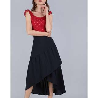 The Tinsel Rack Yule Tiered Skirt in Navy (M)