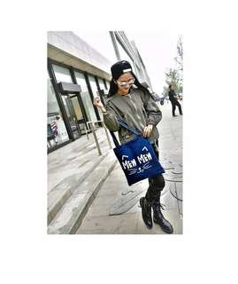 TOTEBAG IMPORT DENIM BLUE with PRINTED | Tas Selempang