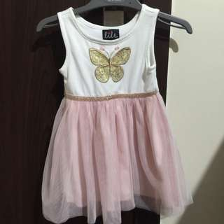 Butterfly dress with pink tutu skirt