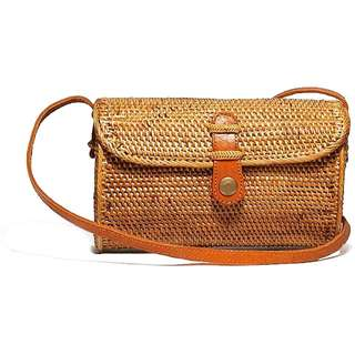 Envelope Rattan Bag with Clip