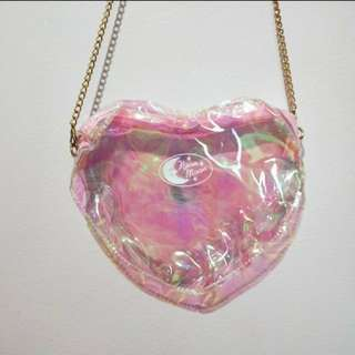 Holographic heart crossbody bag