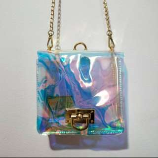 Holographic box crossbody bag