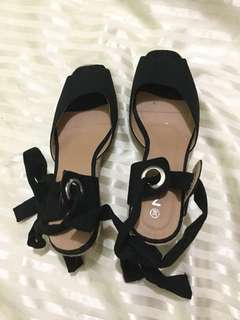 Black Wedge Shoes (Size 8)