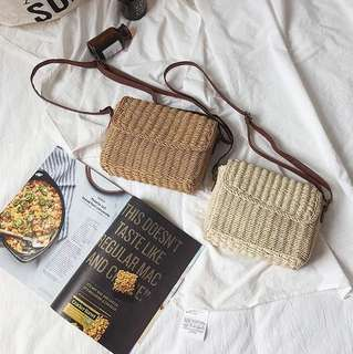 [PO] Rattan Straw Mini Satchel Crossbody Bag