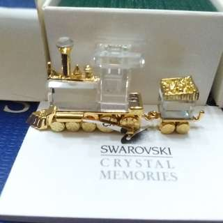 SWAROVSKI CRYSTAL MEMORIES TOY TRAIN LOCOMOTIVE & COAL CAR
