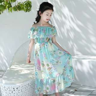 Girls Chiffon Blue Dress Off Shoulder Floral Up to 12 Years Old