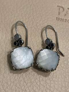 Pandora Earrings Mother of Pearl and Cubic Zirconia RETIRED htf