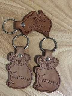 ❤️ New koala kangaroo genuine leather Australian key chain 澳洲袋鼠樹熊真皮鑰匙扣