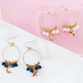 🚚 💧Asymmetrical metallic beaded gold rim circle hoop star and moon earrings
