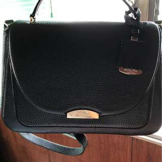 Kate Spade Pine Grove Way Alexya Black Leather Satchel (perfect for iPads)