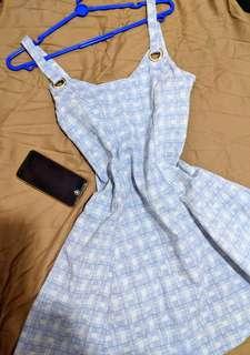 Baby Blue Checkered Pinafore