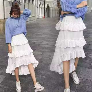 Korean White Midi Skirt uneven ruffles pretty A-line #ramadan50