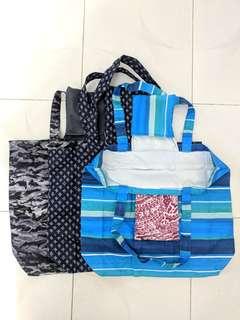 """環保袋 (人手造), $35/個, 每色只有一件, size: ~14""""L x 16""""W, 耐用快乾料"""