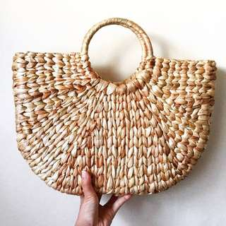 Square Hyacinth Straw Bag