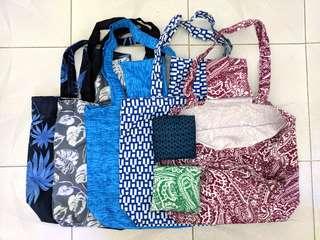 """環保袋 (人手造), $30/個, 每色只有一件, size: ~13""""L x 14.5""""W, 耐用快乾料"""