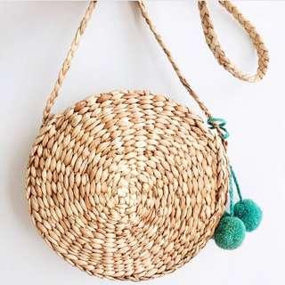 Round Hyacinth/Straw Bag (excluding pom pom)