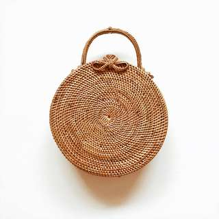 Roundie Rattan Bag with Top Handle