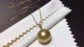 100%天然濃金南洋海水珍珠14-15mm吊咀連包金鏈