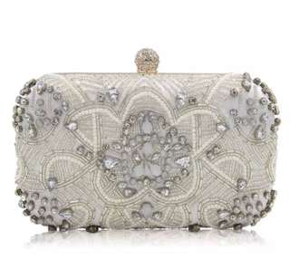 Bejeweled Hard Clutch bag for formal occasion (Silver/ Gold)
