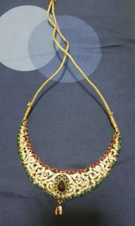 Indian Costume Jewellery ( Red+ Emerald Green + white crystal stones)