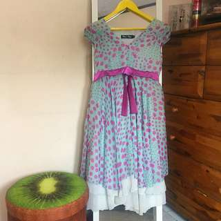Dress Pesta Blue Polkadot