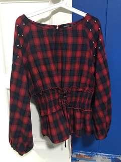 Checkered corset top