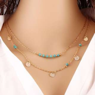 Multilayer Pendant Long Chain Necklace Lariat Choker