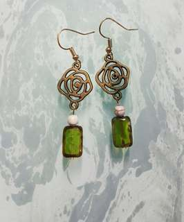 Handcrafted Antique Rose & Peridot Opal Earrings