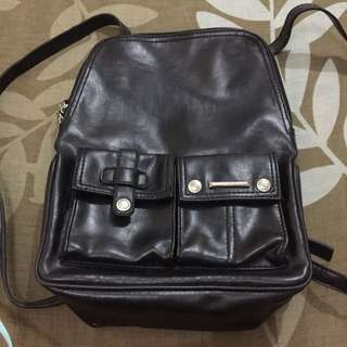 Auth Mango Faux Leather Backpack