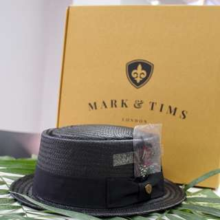 MARK & TIMS Dark Brown Boater Hat