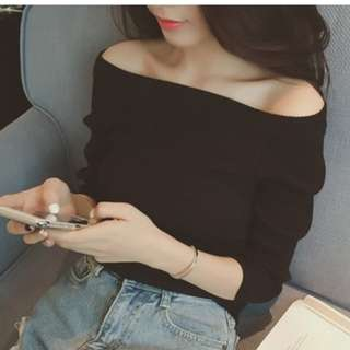 Korean Style off Sholder Knit Sweater Strapless top