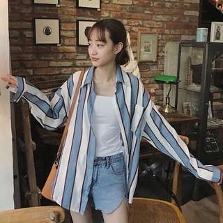 [PO] Vertical stripe long sleeve shirt