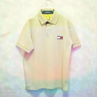三件7折🎊 Tommy Hilfiger polo衫 短袖 卡其 大電繡logo 極稀有 美國製 老品 古著 復古 Vintage