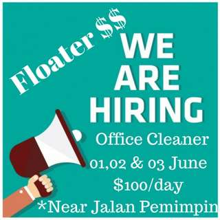 Floater Job near Jln Pemimpin (9am-9pm) From 01-03 June