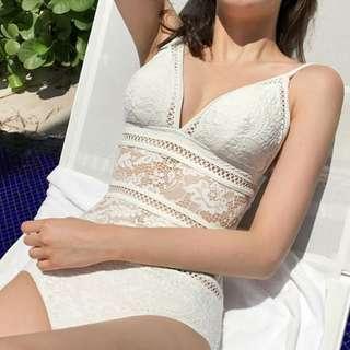 White Laced Crochet One Piece Swimwear