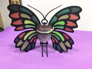 🚚 全新附盒裝 蝴蝶鐵製蠟燭台 葡萄香味